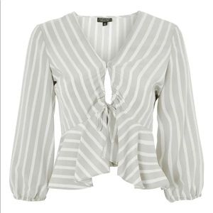 TOPSHOP Betty Stripe Ruched Keyhole Blouse